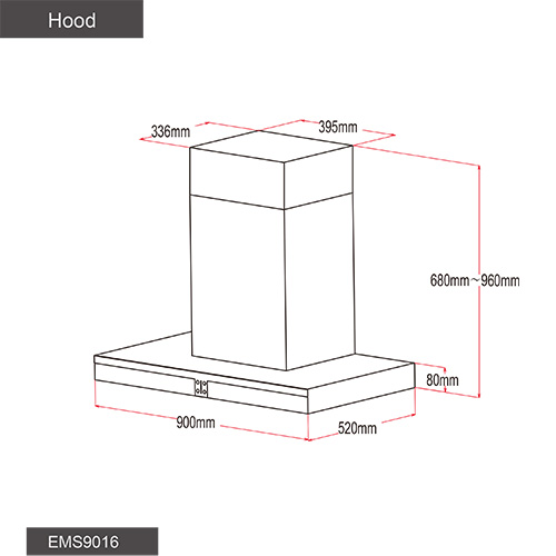Industrial Kitchen Dimensions: Fotile Kitchen Chimney Hood EMS9016