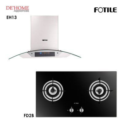 Fotile Built In Chimney Range Hood EH13 Gas Hob FD2B