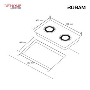 Robam Built-In 2 Burners Kitchen Gas Hob B978 02