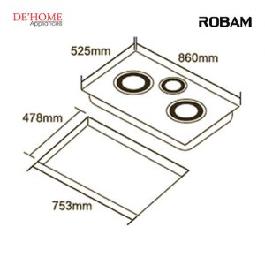 Robam Built-In 3 Burners Kitchen Gas Hob B396 02