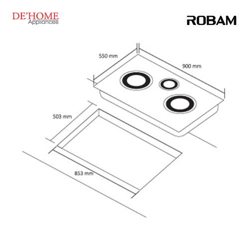 Robam Built-In 3 Burners Kitchen Gas Hob B394 02