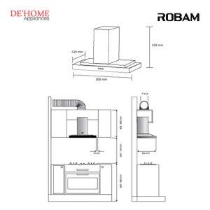 Robam Malaysia Kitchen Range Hood A809 02