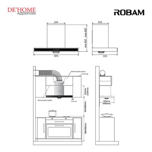 Robam Malaysia Kitchen Range Hood A810 02