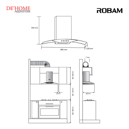 Robam Malaysia Kitchen Range Hood A812 02