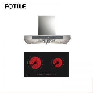 Fotile Kitchen Chimney Range Hood EH23 + Fotile Kitchen Built-In Vitro Ceramic Electric Hob EEG75203