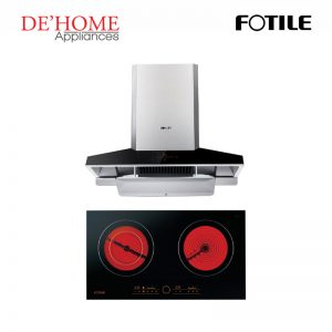 Fotile Kitchen Chimney Range Hood EMG9030 + Fotile Kitchen Built-In Vitro Ceramic Electric Hob EEG75201