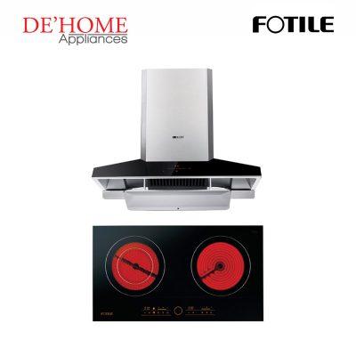 Fotile Kitchen Chimney Range Hood EMG9030 + Fotile Kitchen Built-In Vitro Ceramic Electric Hob EEG75201