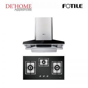 Fotile Kitchen Chimney Range Hood EMG9030 + Fotile Kitchen Built-In Gas Hob GAG86309