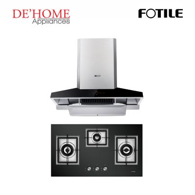 Fotile Kitchen Chimney Range Hood EMG9030 + Fotile Kitchen Built-In Gas Hob GAG86309