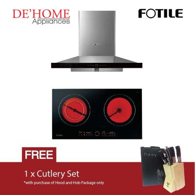 Fotile Kitchen Chimney Range Hood EMS9018 + Fotile Kitchen Built-In Vitro Ceramic Electric Hob EEG75201
