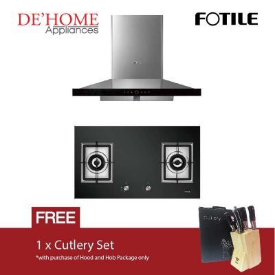 Fotile Kitchen Chimney Range Hood EMS9018 + Fotile Kitchen Built-In Gas Hob GAG86210