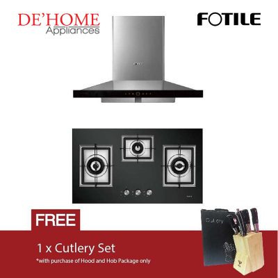 Fotile Kitchen Chimney Range Hood EMS9018 + Fotile Kitchen Built-In Gas Hob GAG86309