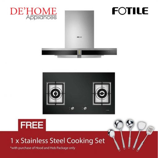 Fotile Kitchen Chimney Range Hood EMS9019 + Fotile Kitchen Built-In Gas Hob GAG86210