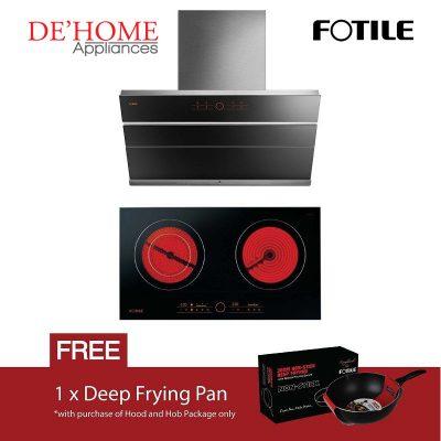 Fotile Kitchen Chimney Range Hood JQG9009S + Fotile Kitchen Built-In Vitro Ceramic Electric Hob EEG75201