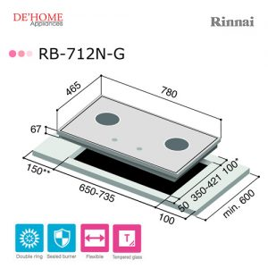 Rinnai Flexible Series 2 Burner Gas Hob RB-712N-G 003