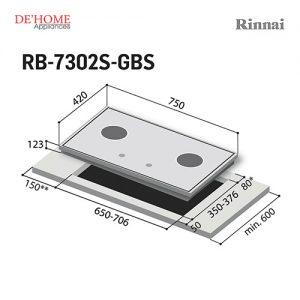 Rinnai Flexible Series 2 Burner Gas Hob RB-7302S-GBS 003