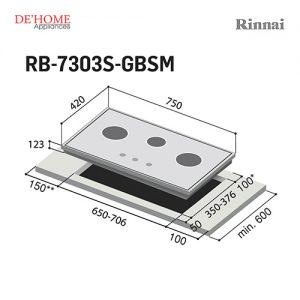 Rinnai Flexible Series 3 Burner Gas Hob RB-730S-GBSM 002