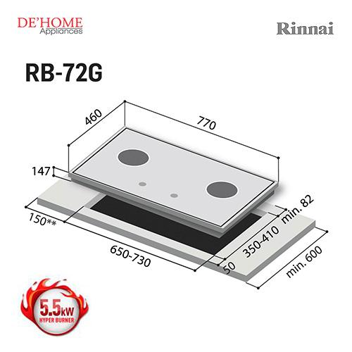 Rinnai Hyper Burner Series 2 Burner Gas Hob Stove RB-72G 003