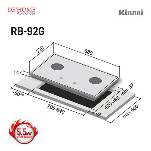 Rinnai Hyper Burner Series 2 Burner Gas Hob Stove RB-92G 003