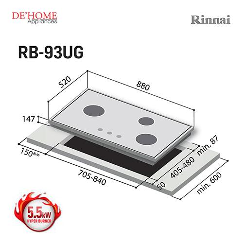 Rinnai Hyper Burner Series 3 Burner Gas Hob Stove RB-93UG 003