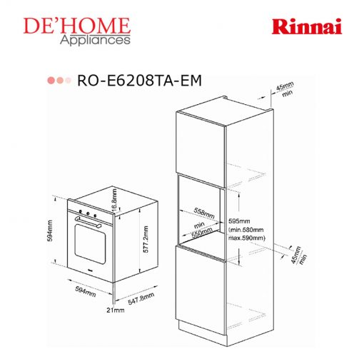 Rinnai Kitchen Built-In Oven RO-E6208TA-EM 02