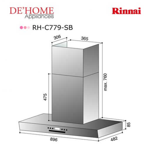 Rinnai Kitchen Chimney Range Hood RH-C779-SB 02