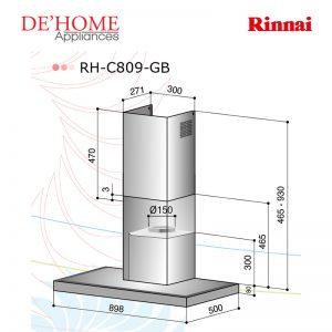 Rinnai Kitchen Chimney Range Hood RH-C809-GB 02