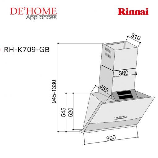 Rinnai Kitchen Slanted Hood RH-K709-GB 02