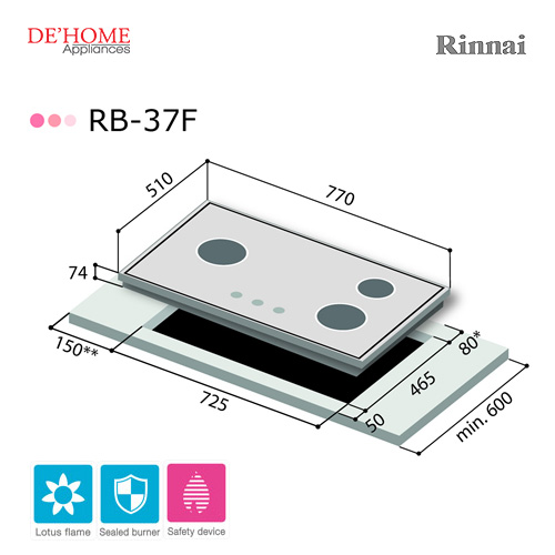 Rinnai Lotus Flame Series 3 Lotus Burner Gas Hob RB-37F 003