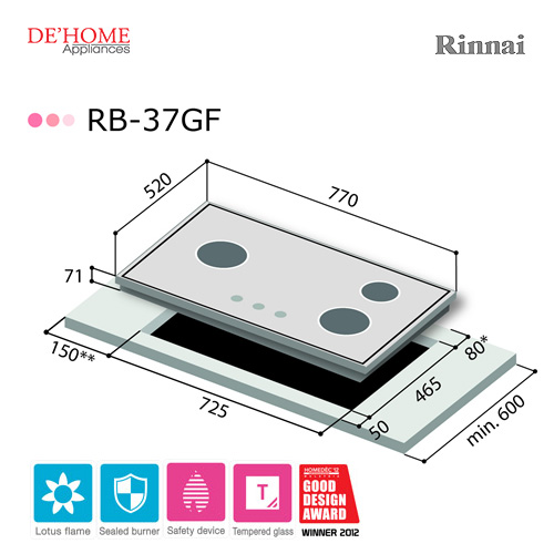 Rinnai Lotus Flame Series 3 Lotus Burner Gas Hob RB-37GF 003