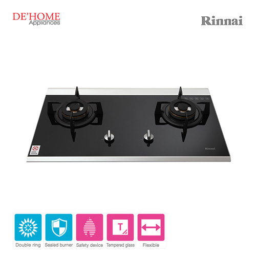 Rinnai Powerful Burner Series 2 Burner Gas Hob Stove RB-7502D-GBS 001