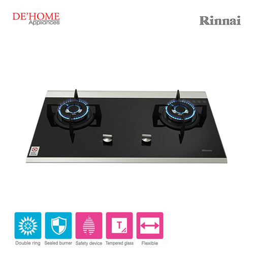 Rinnai Powerful Burner Series 2 Burner Gas Hob Stove RB-7502D-GBS 002