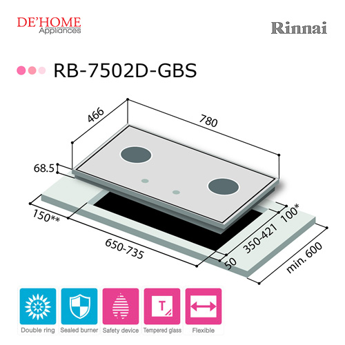 Rinnai Powerful Burner Series 2 Burner Gas Hob Stove RB-7502D-GBS 003