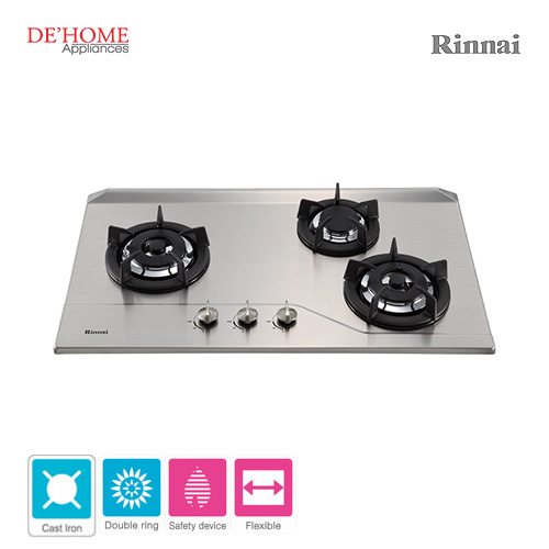 Rinnai Powerful Burner Series 3 Burner Gas Hob Stove RB-3SS-C-S 001