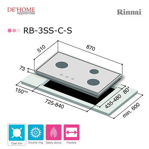 Rinnai Powerful Burner Series 3 Burner Gas Hob Stove RB-3SS-C-S 003
