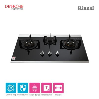 Rinnai Powerful Burner Series 3 Burner Gas Hob Stove RB-7503D-GBSM 001