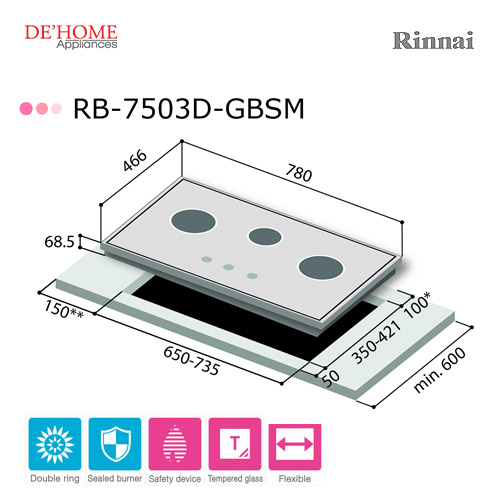 Rinnai Powerful Burner Series 3 Burner Gas Hob Stove RB-7503D-GBSM 002