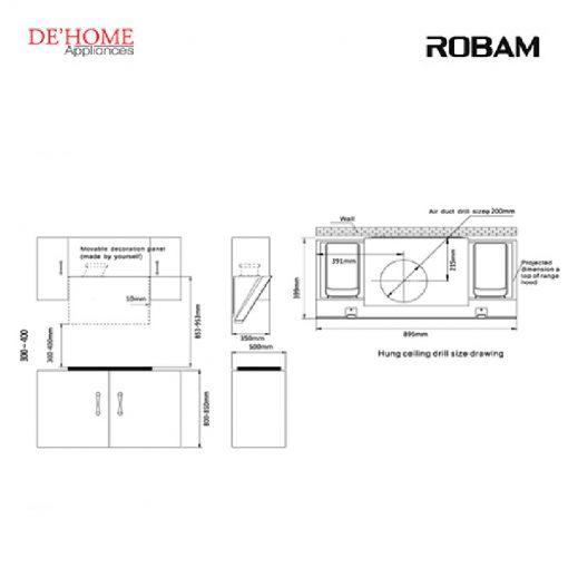 Robam Kitchen Chimney Range Hood A866 02