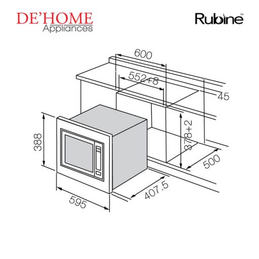 Rubine Kitchen Built-In Microwave Oven RMO-934SS-GD34 02