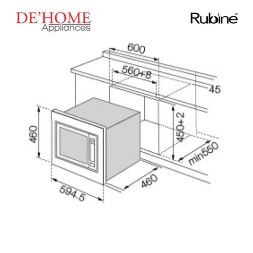 Rubine Kitchen Built-In Microwave Oven RMO-BIGBELLA2-GD28 02
