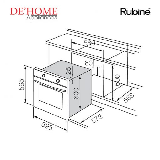 Rubine Kitchen Built-In Oven MBO-INOVA-SS 02