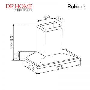 Rubine Kitchen Chimney Range Hood MCH-CAMINO-90SS 02