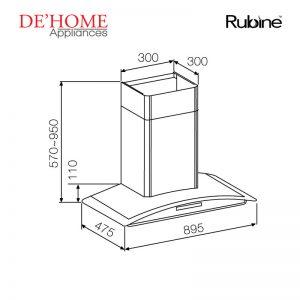 Rubine Kitchen Chimney Range Hood MCH-EBANO-90BL 02