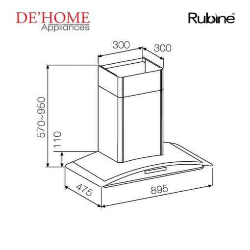 Rubine Kitchen Chimney Range Hood MCH-LAZIO-90SS 02