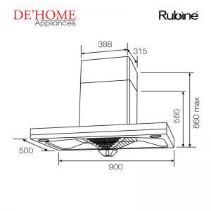 Rubine Kitchen Chimney Range Hood RCH-BOXLINE2-90SS 02