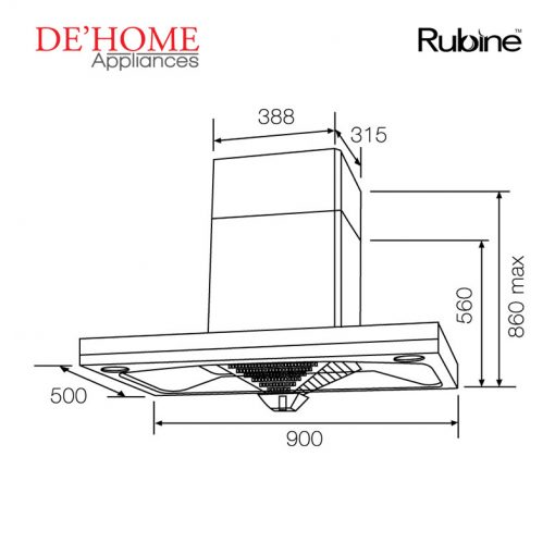 Rubine Kitchen Chimney Range Hood RCH-BOXLINE2-90SS 02