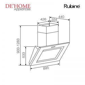 Rubine Kitchen Chimney Range Hood RCH-GEMELLO-RS90 02
