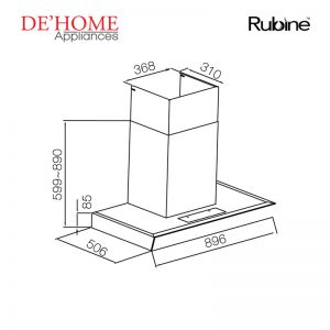 Rubine Kitchen Chimney Range Hood RCH-IA90D-GX 02
