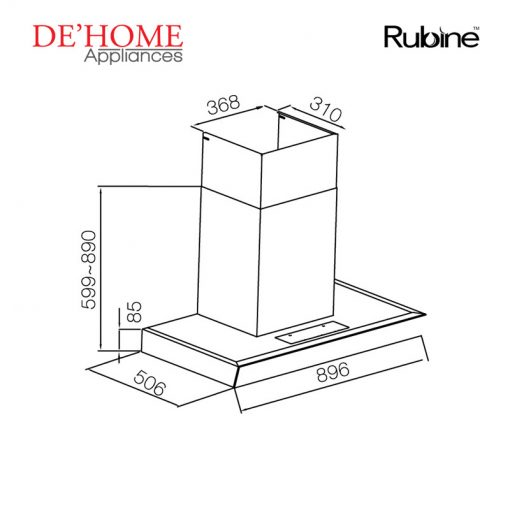 Rubine Kitchen Chimney Range Hood RCH-IA90D-GX 02