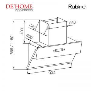 Rubine Kitchen Chimney Range Hood RCH-IA90SM-GX 02